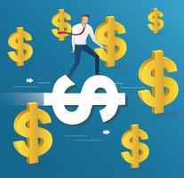 giro dell'uomo d'affari sull'icona del dollaro e fondo delle monete, vettore dell'illustrazione di concetto di affari