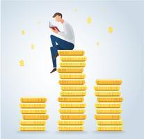 libro di lettura dell'uomo sulle monete, illustrazione di vettore di concetto di affari