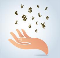 vettore dell'icona di simbolo dei soldi della tenuta della mano, concetto di affari