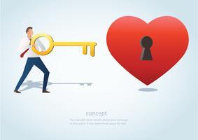 l'uomo che tiene la grande chiave con il buco della serratura sull'illustrazione rossa di vettore del cuore
