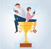il libro di lettura della donna e dell'uomo e sedersi sull'illustrazione di vettore del trofeo dell'oro