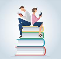 i libri di lettura della donna e dell'uomo che si siedono su molti libri vector l'illustrazione