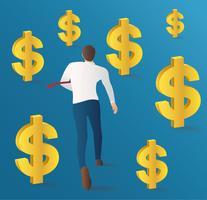 uomo d'affari che funziona con il vettore delle monete del dollaro. illustrazione del concetto di business