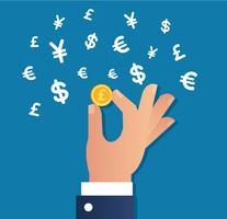 vettore dell'icona del segno dei soldi e della moneta di oro della tenuta della mano, concetto di affari