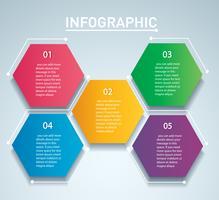 modello vettoriale infografica esagono colorato con 5 opzioni. Può essere utilizzato per il web, diagramma, grafico, presentazione, grafico, report, infografica passo-passo. Sfondo astratto