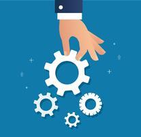 mano che tiene gli ingranaggi e lo sfondo, un'illustrazione vettoriale di concetto di business