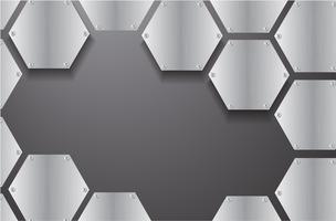 esagono di metallo piastra e illustrazione vettoriale sfondo nero