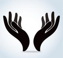 mani che tengono il disegno vettoriale, le mani pregano logo vettore