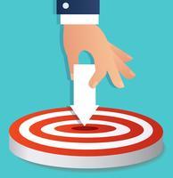 punto dell'icona della freccia della tenuta della mano per mirare al vettore di tiro con l'arco, illustrazione di concetto di affari