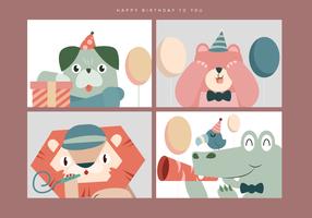 Illustrazione animale sveglia di vettore del ritratto di compleanno