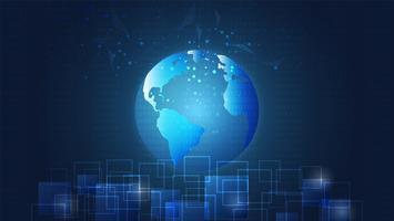 Connessione di rete globale, circuiti digitali e sfondo della mappa del mondo.