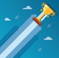 Il trofeo sull'icona della freccia, inizia sull'illustrazione di concetto di affari
