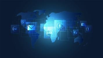 Connessione di rete globale, circuiti digitali con sfondo di icone e mappa del mondo.