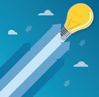 la lampadina sulla freccia inizia sull'illustrazione di concetto vettore
