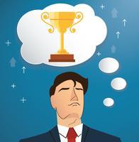 uomo d'affari che pensa al vettore del trofeo, illustrazione di concetto di affari