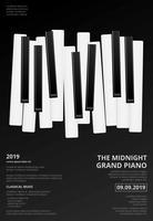 Illustrazione di vettore del modello del fondo del manifesto del pianoforte a coda di musica