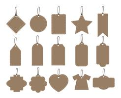 impostare illustrazione della collezione di tag caduta marrone su sfondo bianco - etichette di carta vettoriale