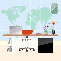 Illustrazione del posto di lavoro moderno piano nella sala. Area di lavoro ufficio creativo con sfondo mappa.