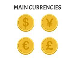 Insieme di simboli delle monete delle valute principali isolato su fondo bianco