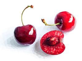 Vector l'arte della ciliegia rossa del poligono