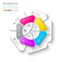 Etichette di affari infographic su barra di cerchi di due strati. vettore