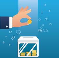 mano che tiene il concetto di moneta di donare