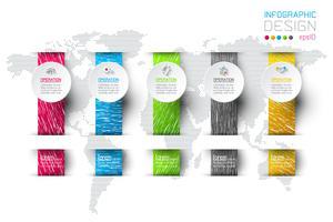 Infografica di affari con 5 passaggi.
