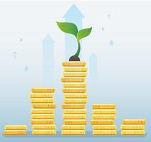 crescita delle piante sul grafico delle monete, illustrazione di vettore di concetto di partenza