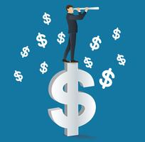 uomo d'affari guarda attraverso un telescopio in piedi sull'icona del dollaro vettore