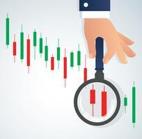 la mano che tiene la lente d'ingrandimento e l'illustrazione del fondo del mercato azionario del grafico del candeliere vettore