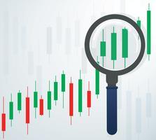 l'illustrazione di vettore del fondo del mercato azionario del grafico del candeliere e della lente d'ingrandimento