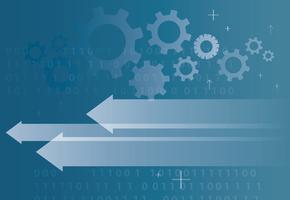 icona di freccia di tecnologia astratta e codice di programmazione del computer che programmano la priorità bassa di concetto di hacker vettore