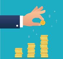 la moneta della tenuta della mano e costruisce il grafico della moneta, illustrazione di vettore di concetto di affari