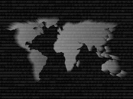 Mappa digitale del mondo segno codice binario con cifre 1 e 0.