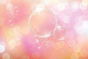 Bolle di sapone su sfondo rosa. vettore