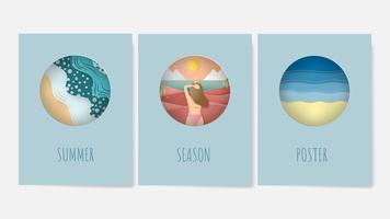 Set di poster di estate su concetti di sfondo in stile taglio carta.