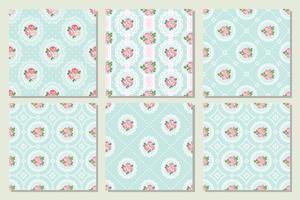 Impostare la raccolta di shabby chic rosa seamless pattern di sfondo vettore