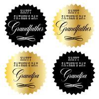 felice giorno di padri nonno oro e emblemi grafici neri