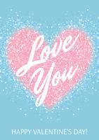 Biglietto di auguri con cuore glitter rosa pastello e testo su sfondo blu.