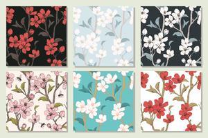 Impostare la raccolta con modelli senza cuciture. Fiori di albero in fiore. Trama floreale di primavera Illustrazione di vettore botanico disegnato a mano.