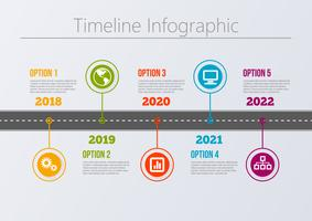Modello di infografica di Business road map presentazione.