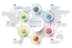 Infografica di affari con 6 passaggi.