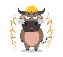 Personaggio dei cartoni animati arrabbiato del bufalo su fondo bianco - vector l'illustrazione