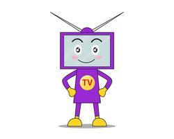 Mascotte del monitor della TV del personaggio dei cartoni animati felice su fondo bianco - Vector l'illustrazione