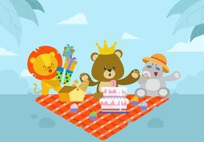 Illustrazione vettoriale di compleanno animale carino