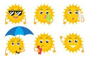 La raccolta dei caratteri della mascotte del sole del fumetto vector l'insieme isolato su fondo bianco