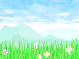 Giardinaggio verde con cielo blu su arte vettoriale.