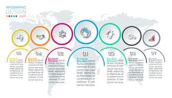 Sette cerchi con infografica icona aziendale su sfondo di mappa del mondo.
