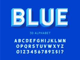 Elegante alfabeto blu grassetto 3D vettore