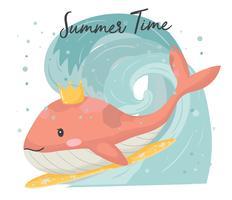 carino balena rosa con corona sulla tavola da surf, surf in mano grande onda disegnare vettore piatto